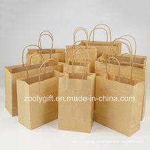 Оптовая Дешевые корзины Браун Крафт-бумага Подарочные сумки с витой ручкой