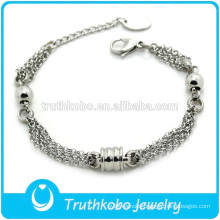 TKB-B0174 Wholesale 2015 facyory adjustable beads jewelry silver 316L stainless steel multiple chain bracelet for women
