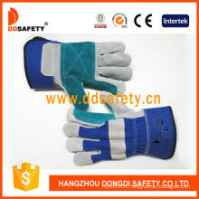 Reinforced Green Leather Palm Blue Cotton Back Rubberized Cuff Half Lining Gloves