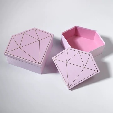 Pink dan Black Diamond Shape Paper Box