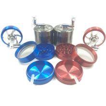 Grinder manual de qualidade superior do cigarro do metal com manivela (ES-GD-001-1)