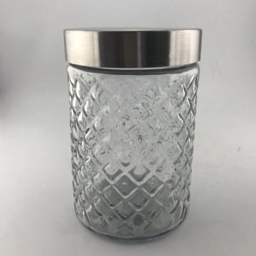 Jarra de armazenamento de vidro com tampa de metal
