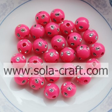 Groothandel Rose Color Plastic Disco Dot kralen met een gat 5MM