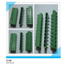 Pino ajustável do ângulo 10mm de 3.5mm / tipo tipo conectável verde conector do bloco terminal de parafuso