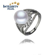 11.5-12mm AAA Serling Silver Bouton en forme de fleur blanche Bague en perle d'eau douce