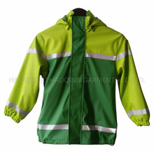 Green PU Reflective Raincoat for Children