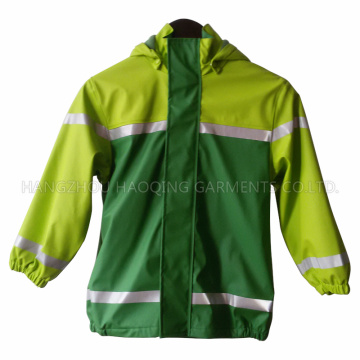 Green PU Reflective Raincoat for Children