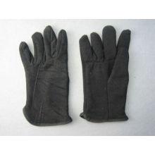 Schwarzer Jersey-Baumwollfleece-gezeichneter Winter-Handschuh-2107