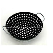 Doble asa barbacoa wok wok con recubrimiento de chapa (se-4456)