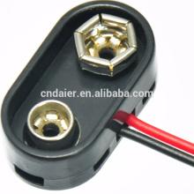 Pressão plástica dura da bateria 9V com fio e conector de ligação