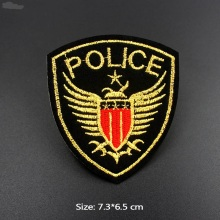 Fashion Gloden Police Embroidery Patches Creative Badge