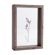 5x7'' Hot Selling Float Wood Display Customize Double Glass 3D Shadow Box Photo Picture Frame