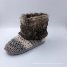 Damen Strick Warm Indoor Stiefel