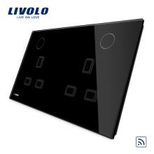 Goupilles d'alimentation électriques noires Livolo 13A Douilles doubles USB VL-W2C2UKR-12
