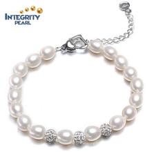 Fashion Freshwater Pearl Bracelet AAA 7-8mm Drop Water Pearl Bracelet for Women