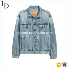 Washed blue denim jacket distressed chest pocket wholesale jacket