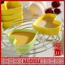 Cerámica en forma de corazón ramekin, plato de forma de corazón de cerámica