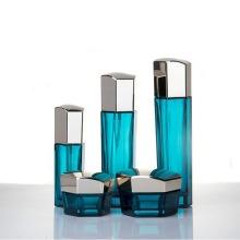 Recipientes cosméticos hexágono de vidro azul com tampa de prata