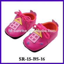 2015 nuevo producto suave suela de cuero zapato de bebé