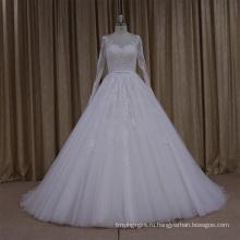 С длинным рукавом кружева аппликация мусульманин свадебное платье с поясом