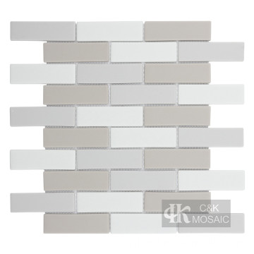 Brick Mix Color Glass Mosaic Subway Tile Sheets