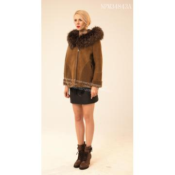 Pendek Rib Sleeve Copenhagen Fur Hooded Jacket