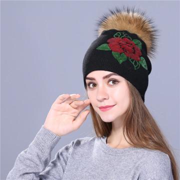Bonnet d'hiver femme tricoté femmes broderie de paillettes