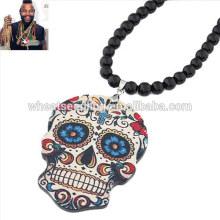 Carré en acrylique noir perles crâne chandail chaîne à la mode collier perlé