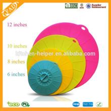 Cubierta antiadherente antiadherente del tazón de fuente de la succión del silicón / tapa de la cubierta del silicón / tapa del pote del silicón