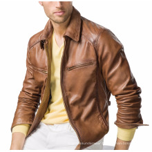 TAN BROWN LEATHER JACKET FOR MEN AND WOMEN