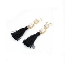 2018 Trend Wholesale New Model Design Pearl Fashion Earring, Black Long Tassel Howlite Zirconia Gold Fashion Earring