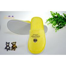 Желтая велюровая тапочка с офсетной печатью