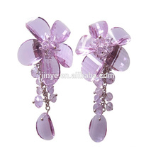Handmade Crystal Flower Clip On Statement Earrings For Party or Shows