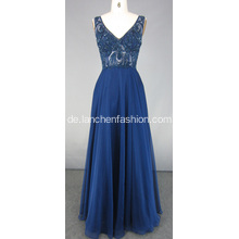 Navy Blue Perlen Brautjungfer Abendkleid