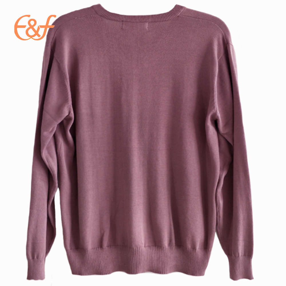 V Neck Pullover Plain Knit Jumper Clothes
