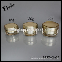 15/30/50g cat eye shaped acrylic cream jar with screw cap and inner lid, OEM free sample and packaging service, Fob shanghai