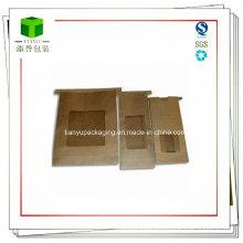 Bolsa de papel Kraft de granos de café con lazo de estaño