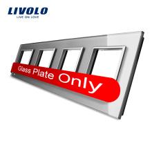 Panneau de commutation en verre cristal coloré de luxe Livolo 293 mm * 80 mm panneau de verre quadruple à vendre prise murale VL-C7-4SR-15
