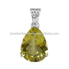 Preciosa piedra preciosa de cuarzo de piedras preciosas 925 joyas de plata de ley colgante
