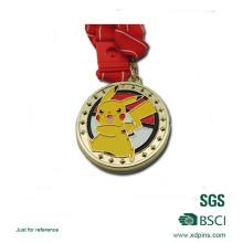 Iron Gold Plated Soft Enamel Cute Pikachu Logo Medal