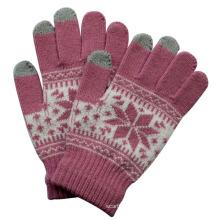 Moda feminina malha de inverno quente luvas de tela de toque mágica (yky5457)