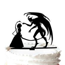 Gâteau de mariage - Halloween Devil Silhouette Gâteau de mariage Topper
