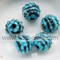 12MM, 14MM, 18MM, gestreepte 20MM Zebra Solid Ball acrylaat parels met hars Crystal