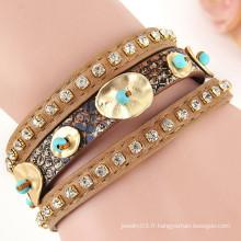 Hot Sale Fashion Vintage style or Coin bracelet en cuir avec fermoir magnétique