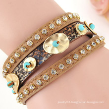 Hot Sale Fashion Vintage Style gold Coin leather bracelet with magnetic clasp