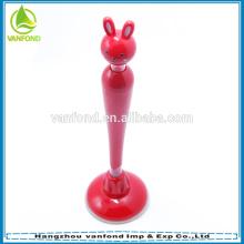 Forma de coelho de desenho animado bonito stand caneta com ventosa