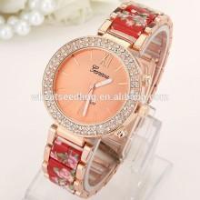geneva crystal diamond around model lady stainless steel watch