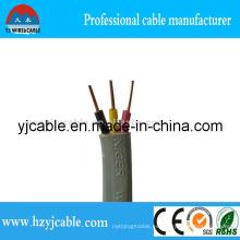 3 cable plano de la base PVC aisló el cable BVVB 3 * 1.5mm2 de la envoltura