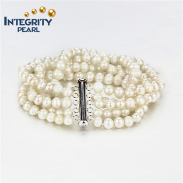Bracelete de pérolas de água doce 5mm a + Batata 5 Strands Fashion Pearl Bracelet Jewelry