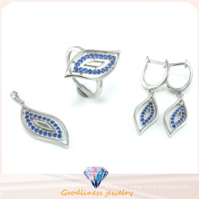 Leaf Pattern Design Fashion Jewelry Set for Woman 3A CZ 925 Sterling Silver Jewelry Set (S3302)